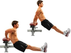 triceps dips with one bench