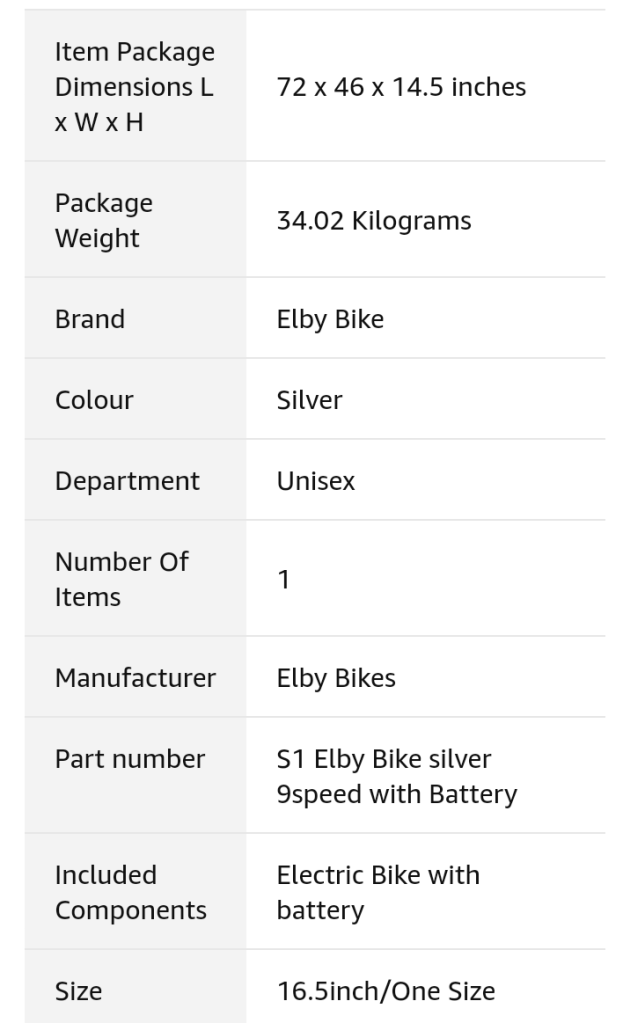 Elby bike overview